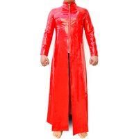 vestido vitoriano marrom venda por atacado-Macacão De Látex Catsuit PVC Couro Genuíno Vermelho O Traje De Matrix Traje De Látex Gay Couro De Patente Trecho Longo Casaco Trench