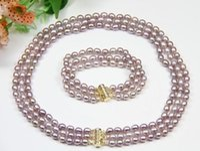 lila perlensets großhandel-3-reihige 7-8 mm natürliche Süßwasser-Rosa-Lila-Perlenkette 17