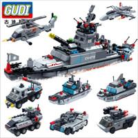 vehículos militares tanque al por mayor-GUDI 8 EN 1 Bloques de construcción de acorazados militares Misil Barco Tanque de batalla Helicóptero Vehículo Edificio educativo Juguetes para niños