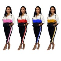 Wholesale racing trousers resale online - Womens shirt legging outfits piece set tracksuit outerwear tights sport suit long sleeve cardigan trousers tracksuit klw2709