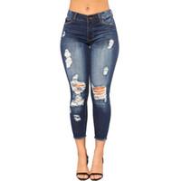 mediados de cintura rotos jeans mujeres al por mayor-FOTOS REALES 2019 Pantalones vaqueros de las mujeres Skinny Ripped Jole Jeans Pantalones de cintura media Lady Sexy Slim pantalones femeninos Skinny Lápiz Jeans al por mayor
