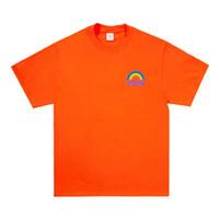 dulce arcoiris al por mayor-Popular Rainbow Impreso Camiseta Suelta Unisex Para Mujer Para Hombre Cuello Redondo de Manga Corta de Color Caramelo Pareja Ropa