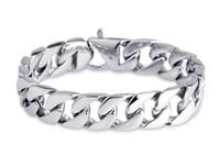 herren silberne bordstein armband groihandel-LuxuxMens 316L Edelstahl-Armband-Verbindungs-Ketten-Breite 19cm 20cm 21cm 22cm Silber Curb Cuban Armband für Männer Hip Hop Schmuck G825R F