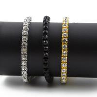 diamantreihenketten großhandel-Iced Out Single Row Strass Armband Männer Hip Hop Stil Schmuck Klar CZ Diamant 7-9 Zoll Bling Kette Armbänder