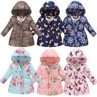 casaco floral para crianças venda por atacado-Meninas Floral Impresso Coats 13 cores estilo longo de bolso Casacos Criança Designer Clothes Meninas Cotton Zipper 3-8T 04