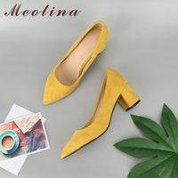 Wholesale thick heel working shoes women for sale - Group buy Meotina Thick High Heels Shoes Women Pumps Pointed Toe Work Shoes Slip On High Heels Spring Footwear Big Size Red Yellow Y200323