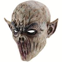 korkunç zombi maskeleri toptan satış-Cadılar bayramı Kanlı Korkunç Korku Maskesi Yetişkin Zombi Canavar Vampir Maskesi Lateks Kostüm Partisi Tam Başkanı Cosplay Maskeli Sahne