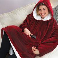 manta de baño al por mayor-Capucha del invierno al aire libre con capucha abrigos Manta inclinado con capucha de la albornoz con capucha Fleece Pullover para Hombres Mujeres