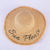 Wholesale girls wide brimmed hats for sale - Group buy Women Letter Print Straw Hats Fashion Lady Letter Embroidered Lafite Sunhat Breathable Summer Wide Brim Beach Sun HatsTTA959