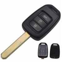 boutons vierges automatiques achat en gros de-Haute qualité auto clé de voiture 3 boutons à distance clé de voiture Shell Case Cover Fob Blank pour Honda couverture hon66 lame utiliser aux Etats-Unis