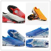 zapatos de golf al por mayor-2019 Venta caliente Mercurial XIII Elite FG Ronaldo Neymar Hombres Azul Blanco Amarillo Zapatos de fútbol transpirables Botas de fútbol Tacos
