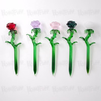 Wholesale water stick smoking resale online - Premium Rose Shape Glass Dabber Tool MM Oil Rigs Dab Stick Carving Tool For E Nail Dab Nail Quartz Banger Smoking Water Pipe