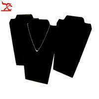 şövale standı tutacağı toptan satış-Takı Ekran Standı Kolye Tutucu Kolye Plaka Siyah Kadife Boyun Sarılmış Jewellry Mağaza için Şövale Standı