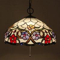 lámpara araña e27 al por mayor-Araña de cristal de lujo con flores de cristal europeas con accesorios de luz de interruptor de alambre para sala de estar lámpara Sudeste asiático Bar Cafe Luz de lámpara