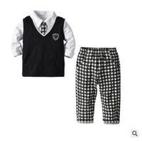 krawattenweste großhandel-Jungen Kleidung Sets Outfits 2019 Frühling Jungen Langarm Hemd Weste Plaid Hose Hose Set mit Krawatte Baby Jungen Kinder Kleidung 18M-6Y