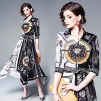ingrosso abiti bianchi asimmetrici-Elegante abito donna nero bianco patchwork barocco stampa orlo asimmetrico festa cena abiti da ballo 3133