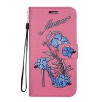 Wholesale card holding lanyards resale online - Wkae Printed Rattan Shoes Leather Case Cover with Hold Lanyard and Card Slots for Motorola MOTO C Plus