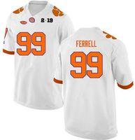 lila jugendfußball jerseys großhandel-Clemson Tigers # 99 Clelin Ferrell weiß orange lila Football College genäht Hochwertiges Jersey versandkostenfrei