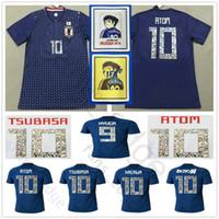 camisas de futebol azul venda por atacado-Número dos desenhos animados 2018 Copa do Mundo Japão Camisa de Futebol Capitão TSUBASA 10 OLIVER ÁTOMA KAGAWA ENDO 9 HYUGA NAGATOMO Personalizado Camisa de Futebol Azul