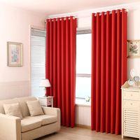cortinas duplas para sala de estar venda por atacado-Cortinas vermelhas Pure Black Blockout Cortinas Francês janela da porta Cortina Duplo Shading pano para a Sala Quarto 6.5