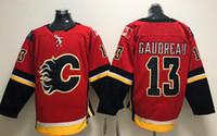 jersey rojo 13 al por mayor-2019 Noticias Hombres cosidos adlads Calgary Flames # 13 GAUDREAU camisetas rojas de hockey sobre hielo