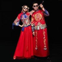 rote chinesische kleidung großhandel-Red Oriental Style FrauenMänner Ehe Cheongsam Anzug Klassische Braut Bräutigam Hochzeit Kleidung Chinesischen Stil Qipao Toast Kleidung