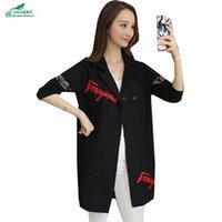 bahar giyim koreası toptan satış-OKXGNZ Bahar Kadın Giyim 2019 Kore Yeni Moda Büyük Yards Boş Coat örgü Hırka Orta Uzun Suit Kat QQ113 Y191025