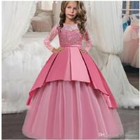 çocuk balo gelinlik modelleri toptan satış-2019 Yaz Uzun Gelinlik Prenses Elbise Kız Çocuklar Kızlar Için Elbiseler Çocuk Parti Düğün Balo Elbise Zarif 14 10 12 Yıl