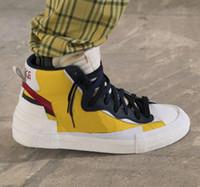 projetos do palhaço venda por atacado-Sacai X Blazer Design Sobrepostos Pioneiros Avant-garde Top Sapatos Coringa Mens Sacai Toki Deslizamento sapatos casuais esportes