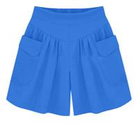 breite bein-shorts plus größe großhandel-2019 frauen shorts strand plus größe feste lose hot pants taschen dame sommer casual shorts super größe feste breite bein heißer