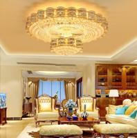 ingrosso luci a soffitto cristallo-Americano europeo di lusso rotondo LED oro lampadari a soffitto Lampadari Fancy K9 lampadario di cristallo Lotel Lobby Villa illuminazione a sospensione