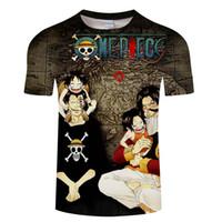 nuevas camisetas impresas al por mayor-Anime Tshirts Hombres Impresión divertida Una pieza Camisetas 3D Nueva parte superior del verano Homme Hip Hop Streetwear Punk estilo suelto Tee Shirt DropShip