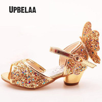Wholesale kids wedding dresses boys resale online - Kids Shoes Glitter Leather Party Dress Wedding Girls Sandals Rhinestone Butterfly Latin Dance Children High Heel Princess Shoes