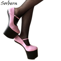 ingrosso pompe bdsm-Strap Sorbern Light Heelless Women Pumps Mary Janes Scarpe Ladies Pump Platform Tacchi Taglia 12 Heels 2018 Autumn Bdsm Pump Females