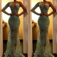 vestido de fiesta verde menta con lentejuelas al por mayor-2019 New Illusion Mint Green Lace Mermaid Vestidos de baile Sparkle con lentejuelas con cuentas vestidos de noche High Side Split vestido de fiesta de un hombro BC1400