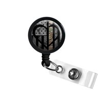 Wholesale black retractable badge reel resale online - Symbolic Army Heart Retractable ID Badge Reel