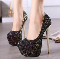 3999ced9a7e430 Bout rond sexy paillettes mariée luxe designer robe de mariée chaussures  noir blanc rose bleu talon aiguille pompes grande taille 35-43