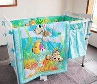 ingrosso letti per neonati per bambini-8 pezzi di pesce oceano set di biancheria da letto culla culla set di biancheria da letto per ragazze ragazzi include cuna trapunta lettino paraurti foglio pannolino borsa