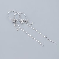neuankömmlinge silberkorea großhandel-Korea Neue Ankunft Mode Cz Kristall Stern Hoop Ohrring Für Frauen Mädchen S925 Sterling Silber Lange Quaste Ohrringe Partei Schmuck