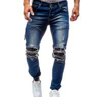 sıcak erkekler tayt toptan satış-Sıcak Yeni Tasarımcı Sıkıntılı Ripped Biker erkek Kot pantolon yüksek sokaklar Streetwear fermuar delik erkek kot popüler ince sıkı Erkek Kot