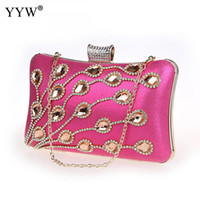 Wholesale pink rose clutch bag resale online - New Fashion Luxury Handbags Rose Clutch Bags For Women Gold Evening Bag With Rhinestone Designer Red Party Shoulder Bag Sac