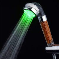 banyo duş aydınlatma toptan satış-RGB 7 Renkli LED Işık Su Banyosu Banyo Filtrasyon Duş Banyo duş başlığı AK4-28 için Renkli led ışıkları