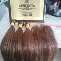 Wholesale peruvian human hair china for sale - Group buy 6 grade a brazilian peruvian indian china human virgin remy hair weft with closure