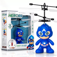 Wholesale helicopters for kids for sale - Group buy drone rc helicopters christmas kids toys with spiderman superman batman minions sytle flying LED toy for Children