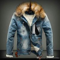 ingrosso v mens del rivestimento del collare-Mens Jean Winter Giacche spesse Collo di pelliccia Designer Fleece Warm Snow Giacca a vento Plus Size Jacket