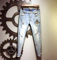 легкие старые джинсы оптовых-Весенние и осенние мужские светлые цвета Old Fashion Retro Print Trend Джинсы мужские