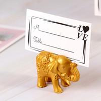 fotos de elefantes al por mayor-Elephant Place Card Holders Photo Clips Favor de la boda Cumpleaños Fiesta de bienvenida al bebé Regalo de la ducha
