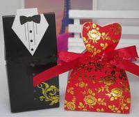 vestido rojo bolsas de dulces al por mayor-2019 cajas de dulces de boda creativas rojas regalo vestido de boda bolsa de dulces la novia y el novio traje papel Kraft caja de dulces