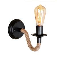 dormitorio de luz de cuerda led al por mayor-Viento industrial Vintage lámpara de pared led luz del pasillo luz de la pared lámparas LED dormitorio noche lámparas cáñamo cuerda iluminación de la pared decoración