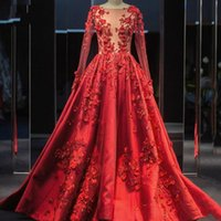 Wholesale red carpet real for sale - Group buy Real Image Red Dubai Vintage Long Sleeve Evening Dresses Elegant D Appliques Flowers Formal Gown Prom Party Dress Robe de soiree